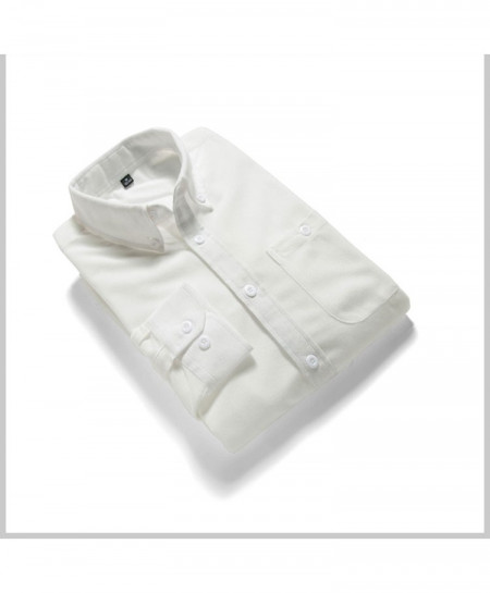 White Solid Corduroy Slim Fit Shirt