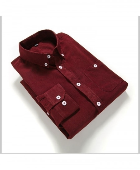 Red Solid Corduroy Slim Fit Shirt