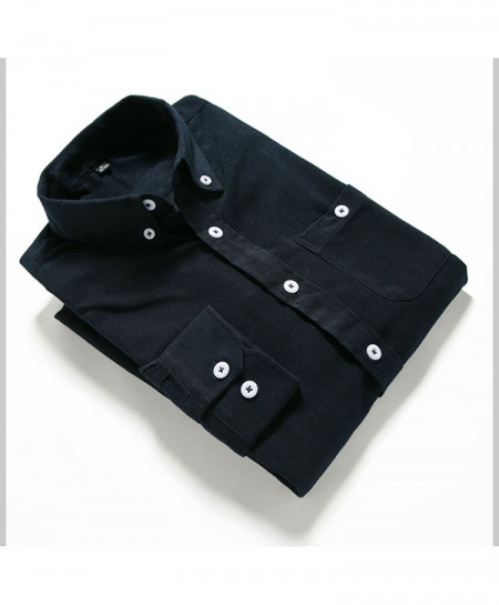 Navy Solid Corduroy Slim Fit Shirt