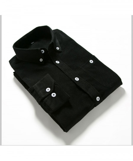 Black Solid Corduroy Slim Fit Shirt