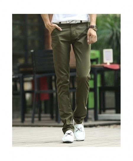 Army Green Straight Cargo Chinos Pant