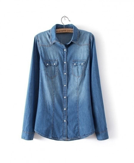Chambray Blue Shirt Top Denim Shirts and Blouses Shirt