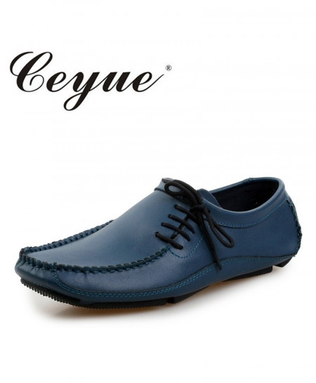 Ceyue Navy Leather Slip On Designer Loafers