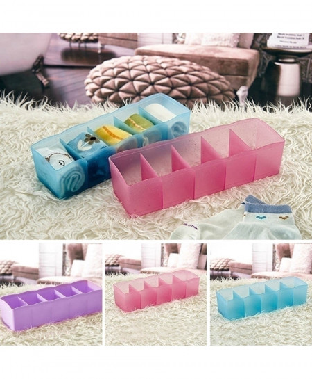 Pack of 3 Plastic 27cm x 6.5cm x 8.5cm 5 Cells Organizer