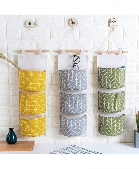 LSPERAL Linen 3 Pockets Sundries Wall Hanging Storage Bags