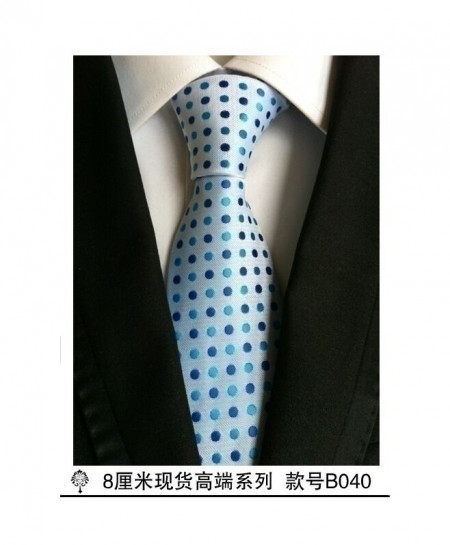 White Blue Dotted Style Silk Plaid Tie