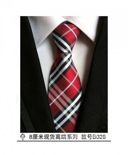 Multi Color Red Silk Plaid Tie