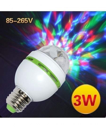 Pack of 2 Colorful 3W Auto Rotating LED Bulb Stage Light