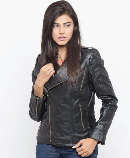 Black Faux Leather Jacket for Women LMB SLL-09