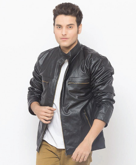 Black Faux Leather Jacket For Men MOD SLL-14