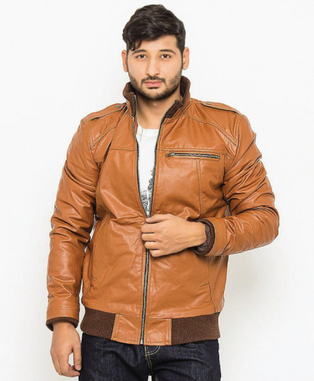 Brown Faux Leather Jacket For Men B666 SLL-15