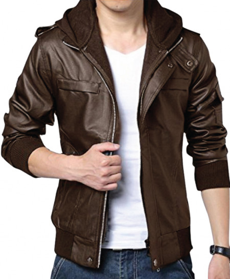 Choco Brown Faux Leather Jacket For Men C1 SLL-18