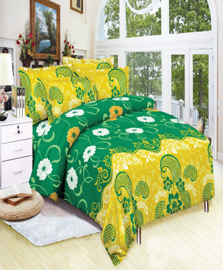 Green Yellow Floral Cotton Bedsheet SY-883
