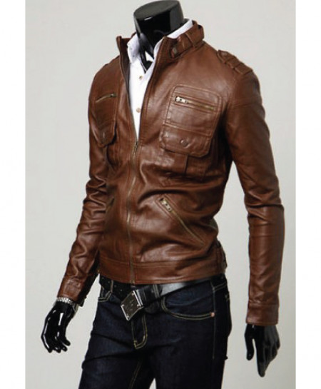 Brown Faux Leather Jacket For Men T6 SLL-27