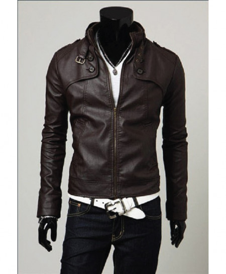 Choco Brown Faux Leather Jacket For Men T7 SLL-29