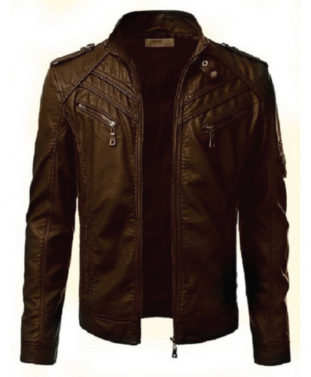 Brown Faux Leather SE Jacket For Men T11 SLL-32