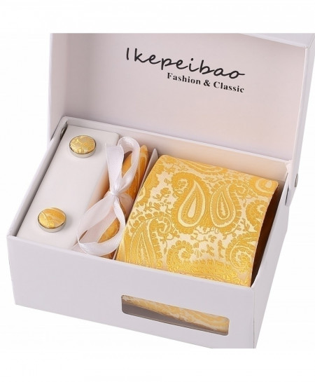 Ikepeibao Yellow Textured Pattern Tie Set