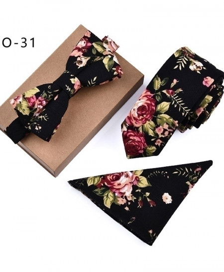 Black Designer Skinny Flower Rose Paisley Tie Set