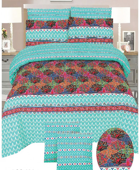 Blue MultiColor Cotton Bedsheet SY-888