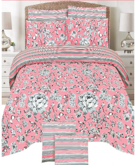 Pink Floral Cotton Bedsheet SY-889