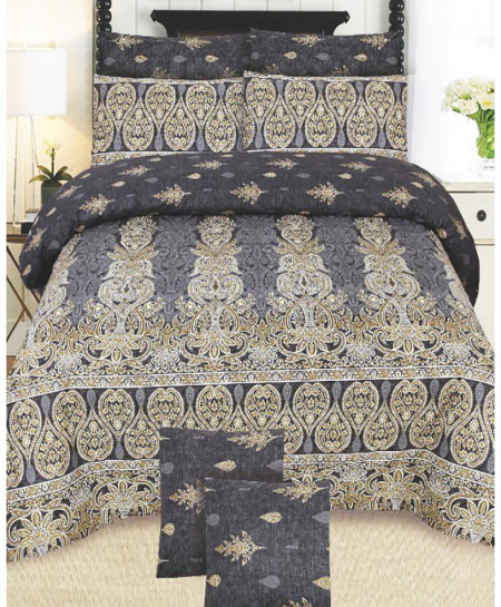 Gray Floral Cotton Bedsheet SY-890