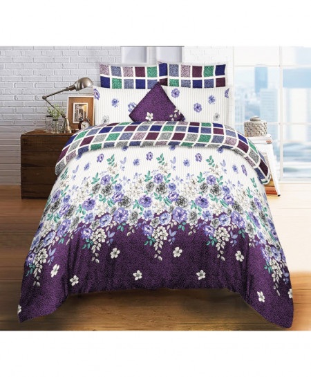 Purple White Floral Cotton Bedsheet SY-902