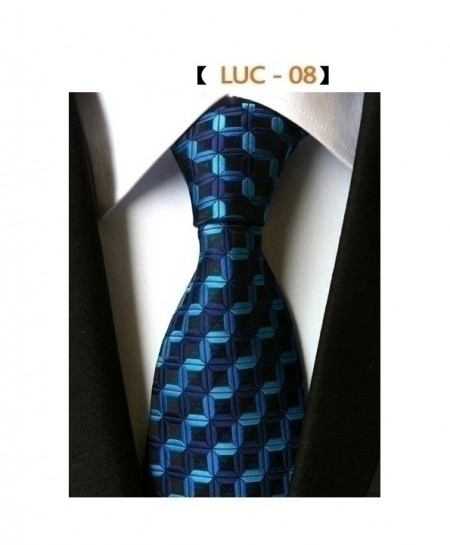 RBOCOTT Blue Square Plaid Striped Black Tie