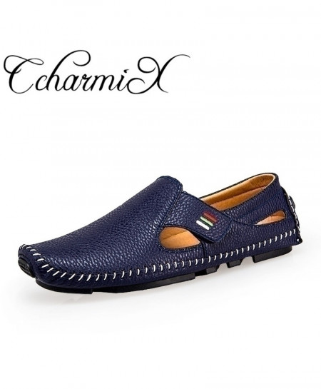CcharmiX Navy Leather Breath Slip On Loafers