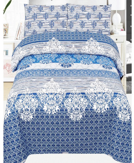 Blue Floral Cotton Bedsheet SY-918