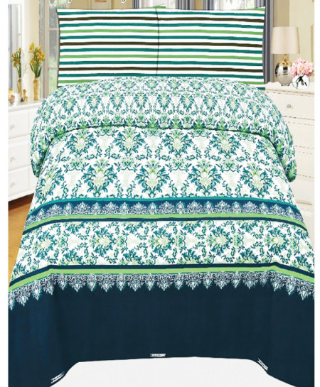 Blue Green Floral Cotton Bedsheet SY-922
