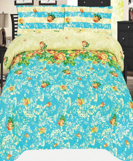 Light Blue Floral Cotton Bedsheet SY-923