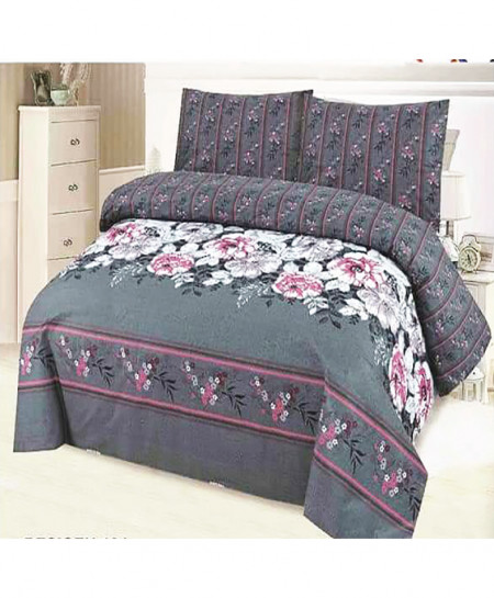 Grey Pink Floral Cotton Bedsheet SY-931