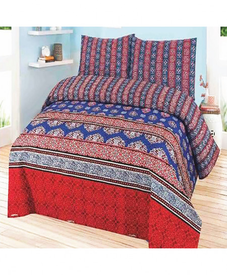 Red Blue Floral Cotton Bedsheet SY-932