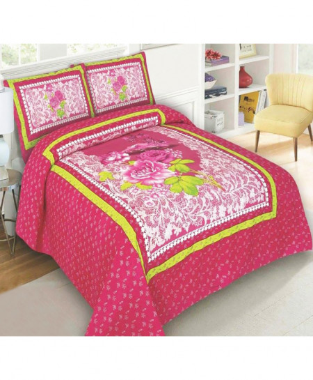 Pink Floral Cotton Panel Bedsheet SY-410