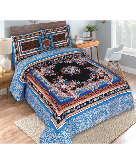 Blue Black Floral Cotton Panel Bedsheet SY-685