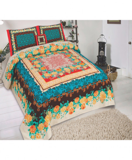 MultiColor Floral Cotton Panel Bedsheet SY-789