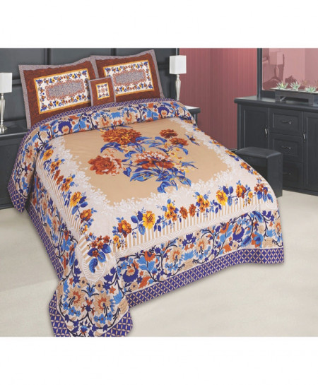 MultiColor Floral Cotton Panel Bedsheet SY-791
