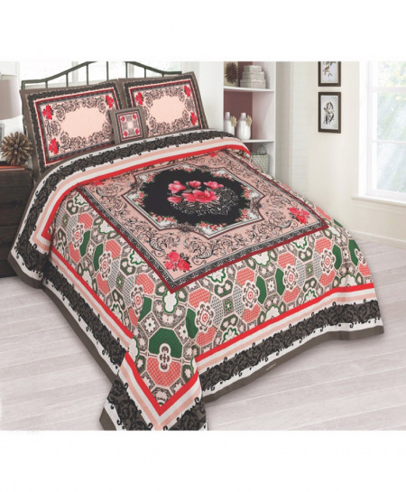 MultiColor Floral Cotton Panel Bedsheet SY-792