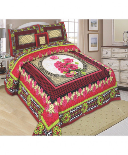 Maroon Floral Cotton Panel Bedsheet SY-793