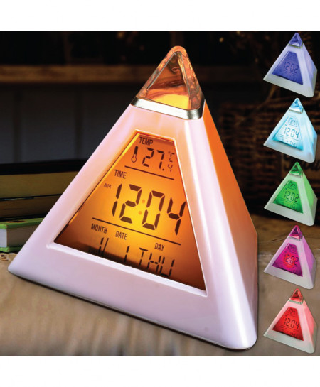 Pack of 2 Charminer 7 LED Pyramid Digital Clock