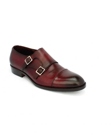 Corio Burgundy Double Monk Leather Shoes CSR-JC-163