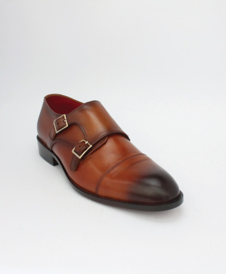 Corio Mustard Double Monk Leather Shoes CSR-JC-163