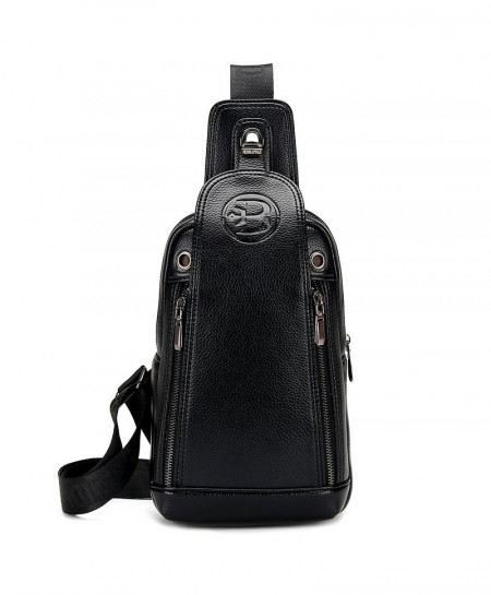 FEIDIKABOLO Black Chest Rucksack Leather Bag