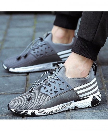 Joomra Gray Running Soft Bottom Mesh Shoes
