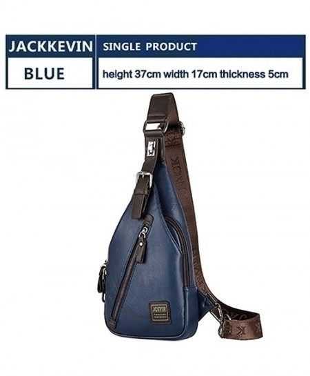 JACKKEVIN Blue Anti-theft Magnetic Clasp Leather Bag