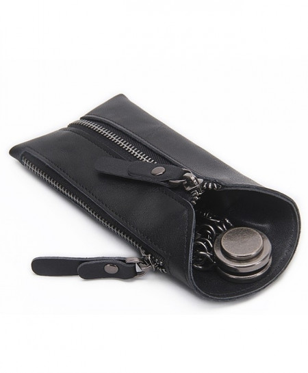 CONTACTS Black Leather Key Wallet