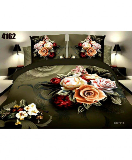 3D Olive Freen Floral Stylish Cotton Bedsheet BS-4162