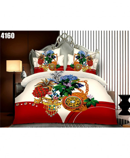 3D White Floral Stylish Cotton Bedsheet BS-4160