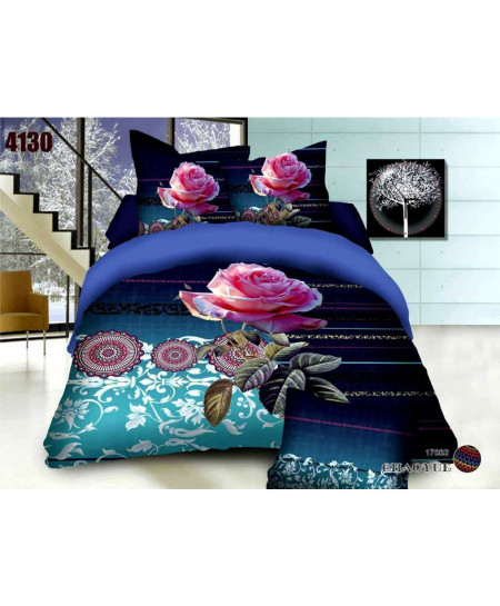 3D Navy Blue Floral Stylish Cotton Bedsheet BS-4130