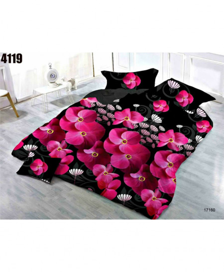 3D Lily Black Floral Stylish Cotton Bedsheet BS-4119
